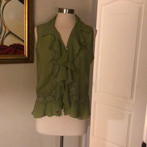 Lime green sleeveless blouse